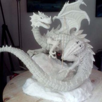 Here is the Dragon, prior to sculpting the detail into his base.
